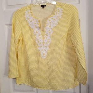 Talbots 100% Linen Blouse Sunny Yellow White
